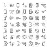 Uppsättning av den tunna linjen symboler för 16 telefon vektor illustrationer