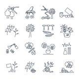 Uppsättning av den tunna linjen symboler som arbeta i trädgården, lantgårdproduktion stock illustrationer