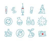 Uppsättning av den vård- drogen för symbolsmedicin Kemi och sjukhuslaboratorium Arkivfoto