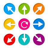 Uppsättning av den vita pilsymbolen i cirkel Arkivfoto
