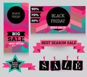 Uppsättning av designbeståndsdelar för den svarta fredag försäljningen Arkivfoto