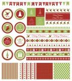 Uppsättning av designbeståndsdelar för julparti Arkivfoton