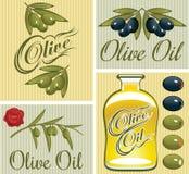 Uppsättning av designbeståndsdelar för olivolja Arkivbild