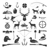 Uppsättning av designen för jakt- och fiskeobjektvektor vektor illustrationer