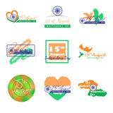 Uppsättning av designen för vektor för Indien självständighetsdagen den typografiska August gratulation 15th Royaltyfria Bilder