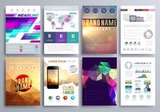 Uppsättning av designmallar för broschyrer, reklamblad, mobila Technologi