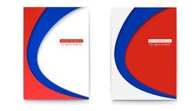 Uppsättning av det abstrakta banret med bakgrund för för vit, blåa och röda färger Affisch för den fotboll- eller fotbollvärldsmä Arkivbilder