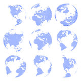 Uppsättning av det abstrakta jordklotet för nio vektor som isoleras på vit bakgrund vektor illustrationer