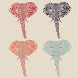 Uppsättning av det abstrakta låga poly elefanthuvudet stock illustrationer