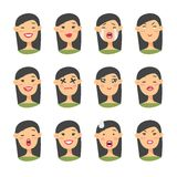 Uppsättning av det asiatiska emojiteckenet Symboler för tecknad filmstilsinnesrörelse Isolerade flickaavatars med olika ansiktsut Royaltyfria Bilder