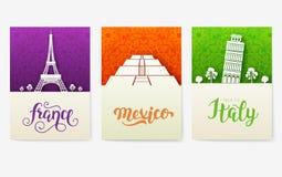 Uppsättning av det dekorativa loppet för konst och arkitektur på etniska blom- reklamblad Dekorativt baner för vektor av kortet e vektor illustrationer