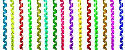 Uppsättning av det färgrika banderollbandet för garneringberöm eller p arkivbild