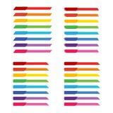 Uppsättning av det färgrika regnbågeetikettsbanret för titelradgarnering Arkivfoton