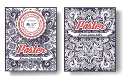 Uppsättning av det felika begreppet för illustration för prydnad för bok för svansreklambladräkning Stam- tappningkonst, islam, a vektor illustrationer