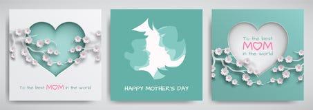 Uppsättning av det gröna och rosa hälsningkortet för dag för moder` s Kvinnor och behandla som ett barn konturer, Ñ-ongratulatio vektor illustrationer