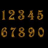 Uppsättning av det guld- numret royaltyfri illustrationer