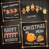 Uppsättning av det gulliga julteckenet Fotografering för Bildbyråer