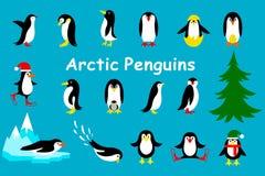 Uppsättning av det gulliga julteckenet - pingvin vektor Arkivfoton