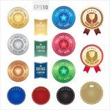 Uppsättning av det högvärdiga emblemet och etiketten för kvalitets- garanti Arkivfoto