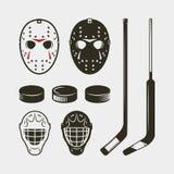 Uppsättning av det hockeyutrustning och kugghjulet hjälm, maskering och puck också vektor för coreldrawillustration vektor illustrationer