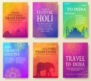 Uppsättning av det indiska begreppet för landsprydnadillustration Traditionell konst, affisch, bok, affisch, abstrakt begrepp, ot Arkivbild