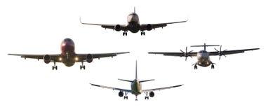 Uppsättning av det isolerade stora kommersiella flygplanet Royaltyfria Foton