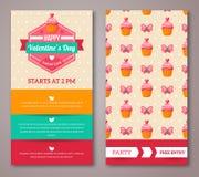 Uppsättning av det lyckliga kortet eller reklambladet för valentindaghälsning Arkivbilder