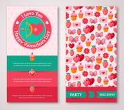 Uppsättning av det lyckliga kortet eller reklambladet för valentindaghälsning Arkivfoto