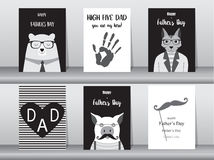 Uppsättning av det lyckliga kortet för dag för fader` s, affisch, mall, hälsningkort som är gulliga, björn, katter, svin, djur, v stock illustrationer