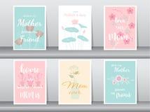 Uppsättning av det lyckliga kortet för dag för moder` s, affisch, mall, hälsningkort, blomma, vektorillustrationer Royaltyfria Foton