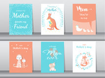 Uppsättning av det lyckliga kortet för dag för moder` s, affisch, mall, hälsningkort som är gulliga, känguru, katter, elefant, rä arkivfoto