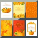 Uppsättning av det lyckliga kortet för tacksägelsedaghälsning Höstferievect Royaltyfri Foto