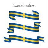 Uppsättning av det moderna kulöra bandet för vektor tre med den svenska färgen royaltyfri illustrationer