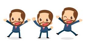 Uppsättning av det mycket lilla affärsmanteckenet i handlingar lycklig arbetare vektor illustrationer