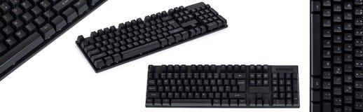 uppsättning av det olika svarta mekaniska datortangentbordet bakgrund isolerad white royaltyfri fotografi