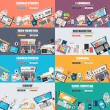Uppsättning av det plana designbegreppet för affärsmarknadsföring Fotografering för Bildbyråer