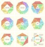 Uppsättning av det polygonal infographic diagrammet Royaltyfri Bild