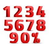 Uppsättning av det röda tecknet för nummer 3D symbol för nummer 3D med procentrabattdesign Arkivfoton
