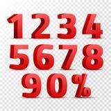 Uppsättning av det röda tecknet för nummer 3D symbol för nummer 3D med den isolerade procentrabattdesignen Fotografering för Bildbyråer