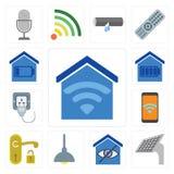 Uppsättning av det Smart hemmet, panel, belysning, handtag, mobil, propp, editab stock illustrationer