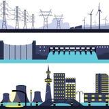 Uppsättning av det sol- kärn- för fördämningväderkvarn och Electric Power energilandskapet Royaltyfri Fotografi