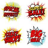 Uppsättning av det speciala erbjudandet!!! Toppna Sale! Galet SHOPPA! Stora Sale! uttryck royaltyfri illustrationer