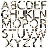 Uppsättning av det svarta alfabetet Broadway för ljus kula Royaltyfri Fotografi
