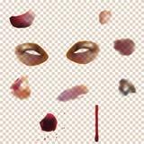 Uppsättning av det varierande blåmärket Använda stordiaeffekten till någon bakgrundsfärg av huden Arkivfoton
