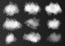 Uppsättning av det vita rökmolnet på genomskinlig bakgrund stock illustrationer