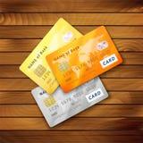 Uppsättning av detaljerade glansiga kreditkortar Arkivfoton