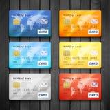 Uppsättning av detaljerade glansiga kreditkortar Arkivfoto