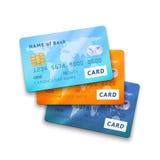 Uppsättning av detaljerade glansiga kreditkortar Royaltyfria Bilder