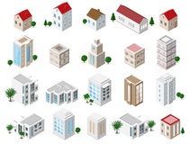 Uppsättning av detaljerade isometriska byggnader för stad 3d: privata hus, skyskrapor, fastighet, offentliga byggnader, hotell By