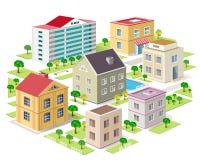 Uppsättning av detaljerade isometriska stadsbyggnader isometrisk stad för vektor 3d Arkivbilder